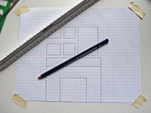 Если ваш камин и есть фокус-элемент, то надо нарисовать линию, идущую от пола до потолка, через центр элемента на пол плана.