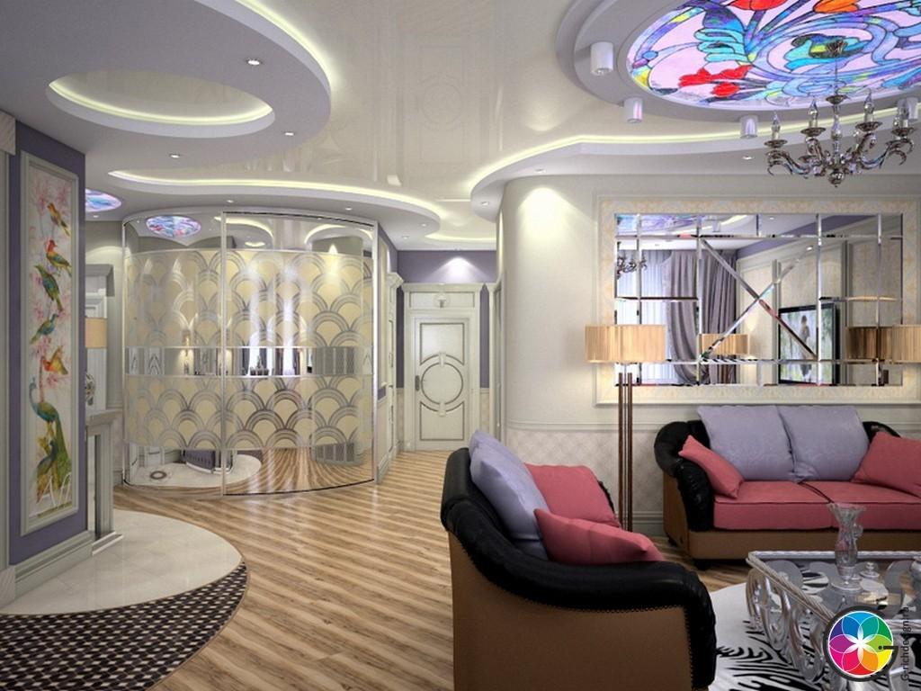 большая гостиная в квартире Домодедово