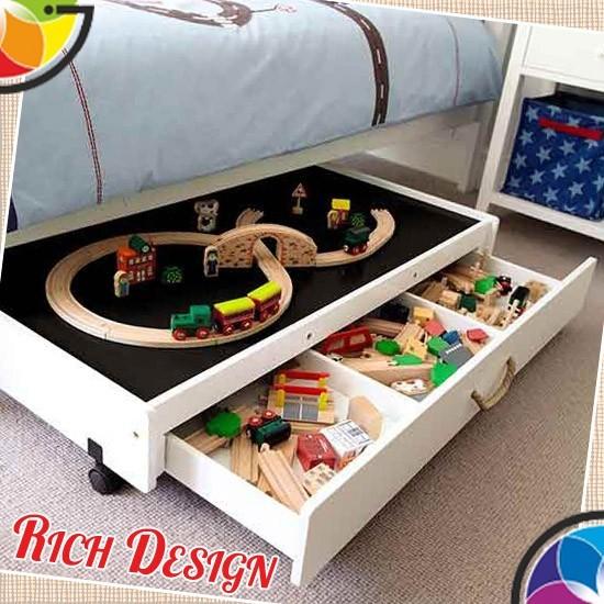 дизайн детской комнаты с удобными ящиками
