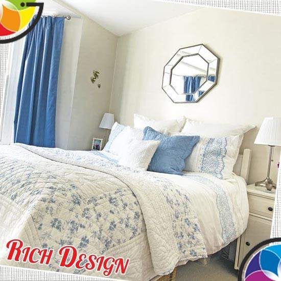Традиционная спальня в синем
