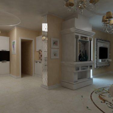 Дизайн интерьера гостиной в пос.Южная Бавария, Москва