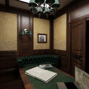 Дизайн интерьера рабочего кабинета в пос.Южная Бавария, Москва